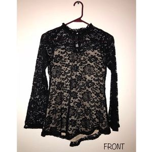 by&by Black Lace Shirt